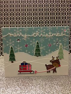 Merry Christmas cards with Lawn Fawn Toboggan together, sequins and red heart rhinestone.