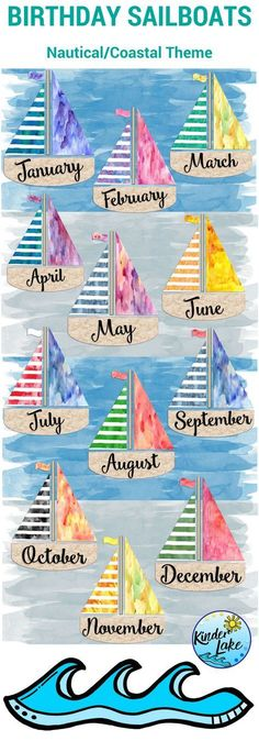 Birthday Display Watercolor Sailboats - - These cute watercolor sailboats are a part of my nautical classroom decor set. Use the birthday display with your coastal or nautical themed room. Print and laminate for use year after year. Birthday Chart Classroom, Birthday Bulletin Boards, Birthday Wall, Classroom Board, Classroom Displays, Preschool Classroom, Classroom Themes, Birthday Display Board, Superhero Classroom