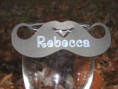 Sit on top wine glass moustache place card