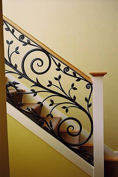 Decorative wrought iron staircase design - www. Steel Stair Railing, Interior Stair Railing, Modern Stair Railing, Wrought Iron Stair Railing, Stair Railing Design, Iron Staircase, Steel Stairs, Staircase Railings, Modern Stairs