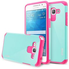 Samsung Galaxy Grand Prime Case, RANZ Grey with Aqua Blue Hard Impact... ($4.99) ❤ liked on Polyvore featuring accessories, tech accessories, samsung, galaxy smartphone and samsung smartphones