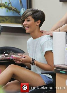 Frankie Sandford hair.  Not kidding, if I get my hair cut short again, I'm doing something like this.
