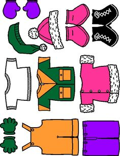 MakingFriends Winter Paper Doll Friends colorful clothes Bundle your paper doll friends in these brightly colored coats, mittens, gloves, snow pants and boots.