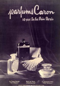 1925 Ad Caron Parfums French Perfume Scent New York Paris Black Narcissus Bottle