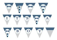 Bow Tie Baby Shower Banner Boys Party by PaperCleverParty on Etsy