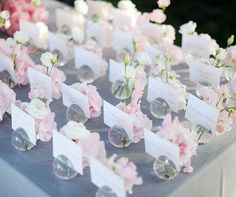 Individual bud vases with pink hydrangeas hold guests' place cards.