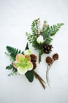 wedding corsages with pinecones -  woodland wedding