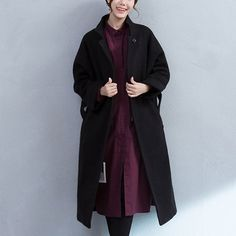 Black Pocket Woolen Jacket