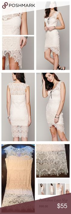 "Free people lace slip Sold out in this color - sand, currently Free people site sells one only in plum color (last pic, 98$)... Bodycon lace slip with scalloped boat neck, frayed cap sleeves, asymmetrical hem with sides longer than center. Lining has sweetheart neckline. Shell 55% nylon, 45% cotton; lining 95% cotton, 5% spandex. Hand wash cold. Measures: shoulder to hem 43.5"", center - 32.5"".cap sleeve from neckline 5.5"". Pit to pit 19"", waste 16, hips 18"" - all stretchy another 2-4""…"
