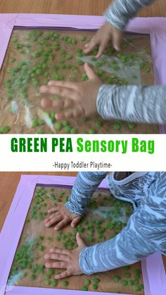 Teacher Discover Green Pea Sensory Bag Need a quick mess-free activity to occupy your toddler while you put lunch together? Check out this fun green pea sensory bag idea! The peas danced and bounced with every touch. It is so mesmerizing to watch! Sensory Games, Baby Sensory Play, Sensory Activities Toddlers, Baby Play, Infant Activities, Preschool Activities, Baby Sensory Bags, Baby Activities 1 Year, Christmas Activities