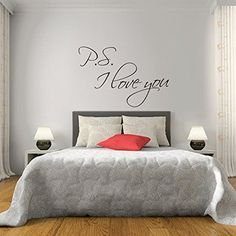 PS I Love You Wall Stickers Quotes Vinyl Decal Couple Bedroom Decoration Romantic Quote (Large,Black)