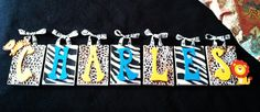 Custom jungle themed letter wall hanging set. $25.00 in materials.