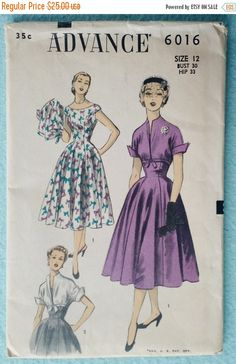 ON SALE Vintage Advance 6016 Misses Dress Pattern by ClairebearToo