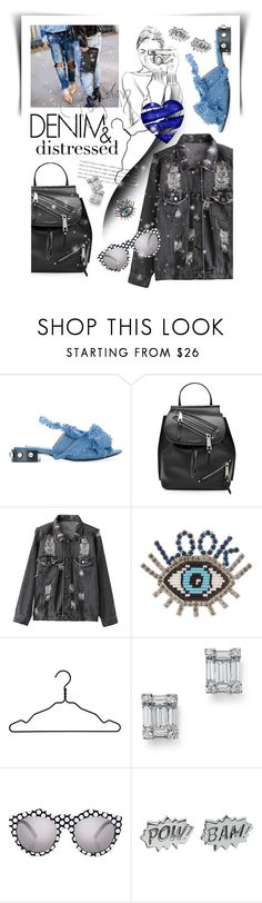 """Distressed Denim"" by cultofsharon ❤ liked on Polyvore featuring N°21, Marc Jacobs, Shourouk, Nomess, Bloomingdale's, Le Specs and Edge Only"