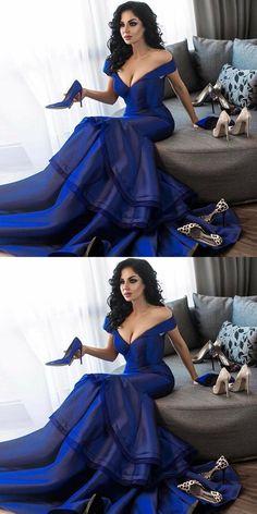 Mermaid Off-the-Shoulder Sweep Train Royal Blue Prom Dress#promdress#eveningdress#dress#dresses#gowns#longpromdress