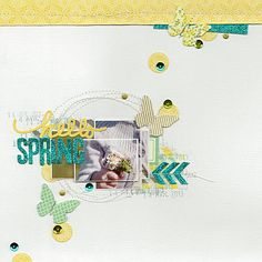 #papercraft #scrapbook #layout    hello spring