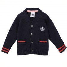 Cardigan bébé forme V en tricot bleu Abysse