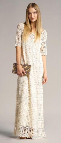 Couture tricotée et style de jersey: Inspiration: ba&sh Crochet Maxi Dress Crochet Blouse, Knit Crochet, Preppy Fall Outfits, Crochet Wedding Dresses, Crochet Woman, Knit Skirt, Crochet Fashion, Handmade Clothes, Crochet Clothes