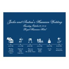 Hawaii Wedding Invitations Wedding Reception Itinerary Timeline Card
