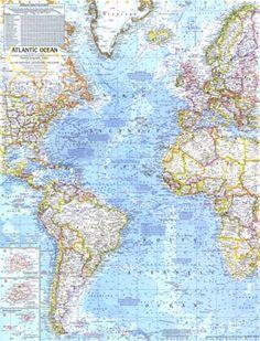 Atlantic Ocean Map 1968. Another beautiful map.