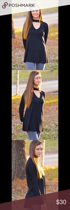 "Timeless Long Sleeves Top Retail NWT Timeless Long Sleeves Top 95% Polyester  5% Spandex  Mock neck long sleeve V neck with front cut out. Made in the USA. Model is 5'3""  Measurements Small - Chest:17"" across / 34"" around, Length:28.5"", Sleeve Length:24"" Medium - Chest:18"" across / 36"" around, Length:29"", Sleeve Length:25"" Large - Chest:19"" across / 38"" around, Length:30"", Sleeve Length:25.5""  🔆 Bundles = 10% OFF Blackberry Boutique Tops Tees - Long Sleeve"