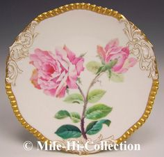 T & V Limoges France Hand Painted Roses Plate Signed Lemaire.