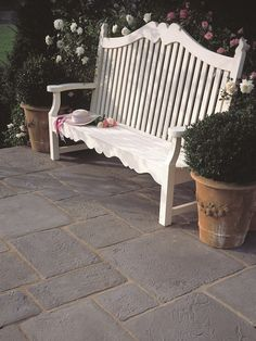 Westminster Stone Lancashire Mill Paving Flagstones will add an instant 'aged' effect to any exterior design. Authentically reproduced with dozens of unique and varied patterns in each size. Slate Paving Slabs, Flagstone Flooring, Flagstone Patio, Flooring Tiles, Garden Slabs, Garden Paving, Paving Flags, Country Kitchen Flooring, York Stone