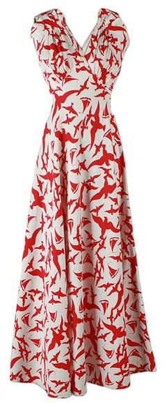 1930's cotton faille dress with saliboats and seabirds