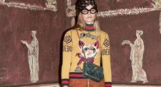 So cute funky (cat, butterfly, blue tiger) sweaters at Gucci Pre-Fall More Pre Fall Campaign Fashion, Cat Sweaters, Cat Design, Crazy Cat Lady, Fall 2016, Editorial Fashion, Christmas Sweaters, Fashion Show, Autumn Fashion