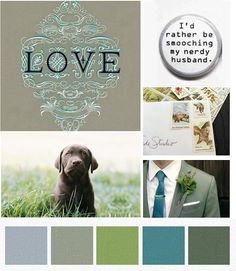grey blue green... The pallette I'm trying to do in my living room... not for my wedding... but I do have a nerdy husband. ;-)