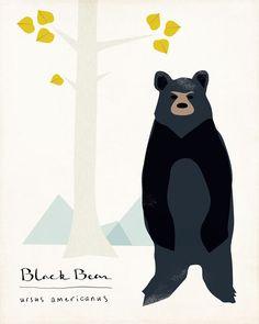 Black Bear Limited Edition Print van ShopAmySullivan op Etsy, $24.00