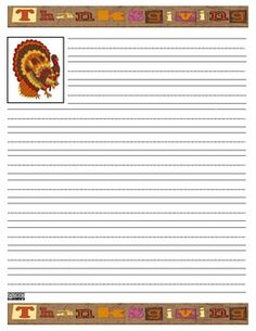 Thanksgiving handwriting paper