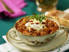 Recept currydoftande köttfärssoppa | Allas Recept Creme Fraiche, Chana Masala, Soups And Stews, Smoothies, Chili, Food Porn, Food And Drink, Apple, Curry