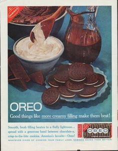"""Description: 1961 NABISCO OREO vintage print advertisement """"more creamy filling"""" """"Smooth, fresh filling beaten to a fluffy lightness ... spread with a generous hand between chocolate-y, crisp-to-the-bite cookies. America's favorite -- Oreo! Nabisco Bakes Them Better!"""""""