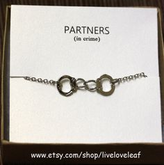 Best Friends Jewelry - Partners in crime Bracelet - Silver Handcuffs #partnersincrime #friendship #bracelet #bestfriends #BFF #jewelry #bracelet #necklace #matching #fun #handcuffs #handcuff #handmade #liveloveleaf #fiftyshadesofgrey #50shades
