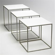 Poul Kjaerholm PK 71 nesting tables, set of three E. Table Desk, Table Furniture, Art Cube, Poul Kjaerholm, Side Coffee Table, Nesting Tables, Kitchen Living, Danish Design, Scandinavian Design