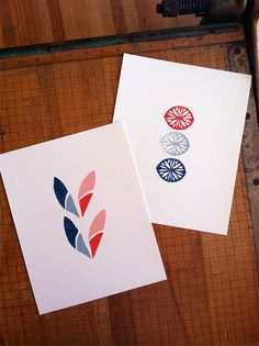 Set of 2  8 x 10 Linoleum Block Prints  Summer by TheRecoverie, $35.00
