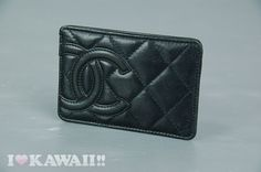 Authentic CHANEL Black Leather Cambon CC Logo Quilted Card Case Holder in Handbags & Purses   eBay