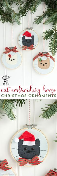 A free sewing pattern and tutorial for Cat Embroidery Hoop Christmas Ornaments. Learn how to make easy and simple embroidery hoop ornaments for Christmas. Christmas Sewing, Christmas Crafts, Christmas Decorations, Christmas Ornaments, Christmas Ideas, Christmas Tree, Christmas Presents, Handmade Christmas, Kid Icarus