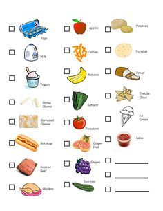 kids printable shopping list ~ good for community helpers or shopping unit.
