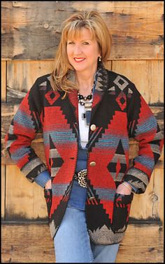 Rhonda Stark - Lots of native design fabrics in coats, and apparel