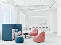 Monica Förster's Vika swivel chairs meet Océane Delain's Mellow sofa in the reception area. All photography by Eric Laignel.  What was once a s...