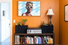The Wendy Peffercorn painting by friend Jonathan Hirsch was a big (and worthwhile!) splurge for the couple.