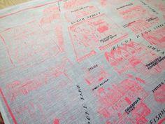 The kingdom do rochamates high street map tea towel by haruka shinji