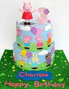 Peppa Pig Cake Ideas - Peppa & Friends Cake Birthday Party Cake, Peppa Pig, George Pig, Daddy Pig, Mummy Pig, Suzy Sheep, Rebecca Rabbit, Danny Dog, Emily Elephant, Candy Cat, Delphine Donkey, Zoe Zebra, Muddy Puddle