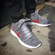 Nike Flyknit Chukka - Grey/Red not sure how i feel about the chukkas yet, do you guys like them?