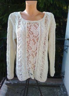 Kup mój przedmiot na #vintedpl http://www.vinted.pl/damska-odziez/swetry-z-dzianiny/11117894-piekny-bezowy-sweterek-koronka-hit