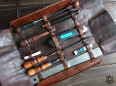 Leather Tool Roll Rugged Leather Tool Bag Leather Tool by JPDco