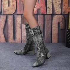 Yivette Botas Black Round Toe Chunky Heel Vintage Botas – yivette Chunky Heels, Riding Boots, Botas Casual, Fall, Toe, Vintage, Black, Fashion, Shopping