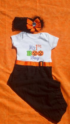 First Halloween Layette Gown .. 1st Halloween Onesie Outfit. Baby Girl Gift Set..Take Home Outfit Infant Gown and Headband. $43.00, via Etsy.